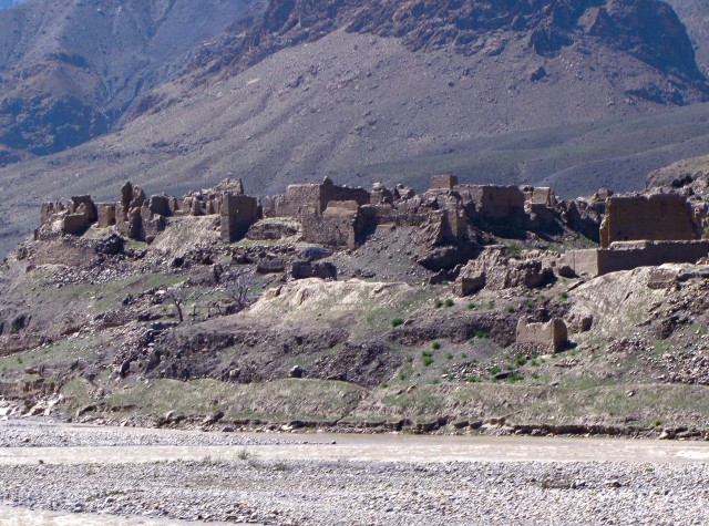 Destroyed Afghan village